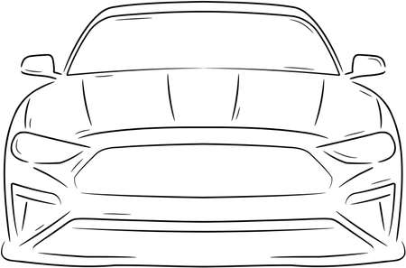 Sketch of a luxury sports car seen from the front Vektorové ilustrace