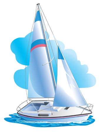 sailing yacht: Color  illustration of the ship against clouds