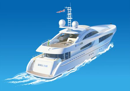 Color vector illustration. The yacht is moving on the sea