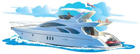 Color vector illustration Yacht against the sky with clouds
