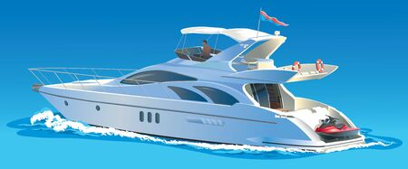 Color vector illustration Yacht against the sky and sea