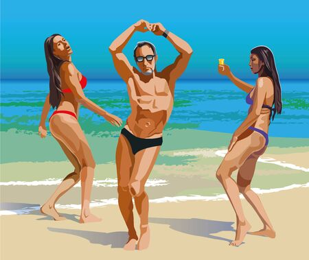 Color vector drawing of dancing people on the beach. Beach party