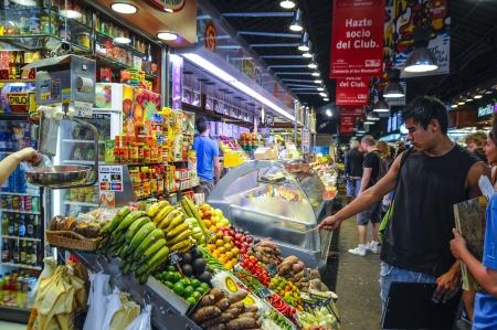 the ramblas: Fresh food on display at the La Bouquerial Barcelona Food Market on Las Ramblas Editorial