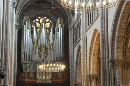 The Pipe Organ and Interior of the Organ at Cathédrale St-Pierre, Geneva