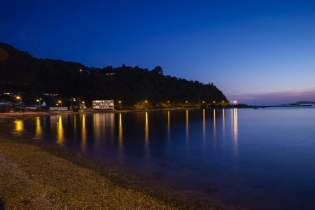lowry: wellington Harbour at Lowry Bay at Twilight  Long exposure