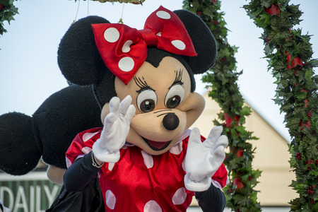minnie mouse: Minnie Mouse Disney Character in the Hamner Christmas Parade 2013 Editorial