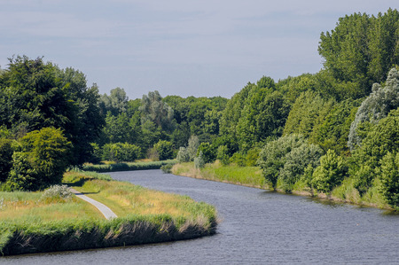 lelystad: Canals near Lelystad showing the gelderse diep and Lage vaart all in summer colours Stock Photo