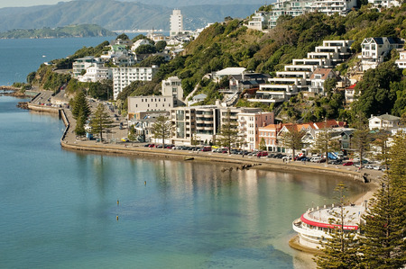 new zealand beach: Wellingtons Oriental Bay and the hillside suburb of Roseneath and the cities premier suburbs. The photograph shows a calm bay, the Oriental Bay Parade winding along the shoreline and the expensive houses and apartments Stock Photo