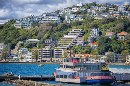 house float on water: Wellington city, in New Zealand, has a delightful harbour and suburbs - in particular Oriental Bay with the expensive homes and apartments close to the blue harbour. In the foreground a disused tugboat now serves as a floating restuarant.