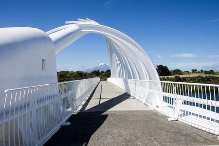 Postcard scenes of the whakarewa bridge in New Plymouth Stock Photo