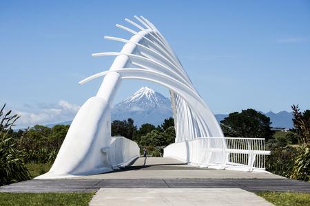 Postcard scenes of the Te Rewa Rewa bridge in New Plymouth Stock Photo