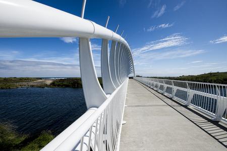 postcard scenes of the whakarewa bridge in New Plymouth