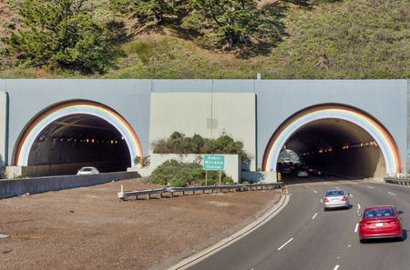 Robin Williams Tunnels in California showing the entrance and exits on the north side of the highway