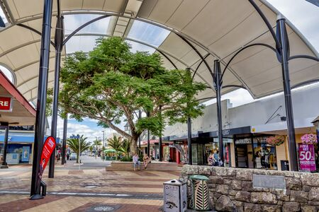 Whangarei city streets turned into a pedestrian friendly precinct with alfresco dining, seats, canopy, shops and businesses.