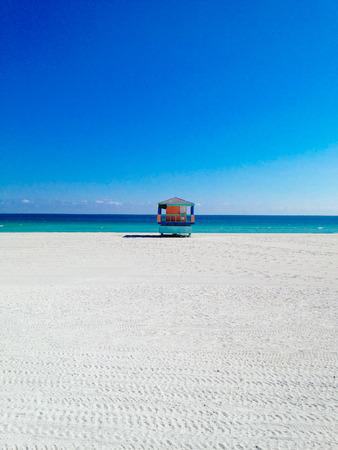 A lifeguard outpost at Miami Beach, Florida.
