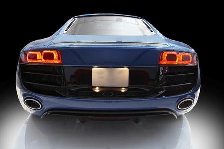 blue sports car on a black bacground  Editorial