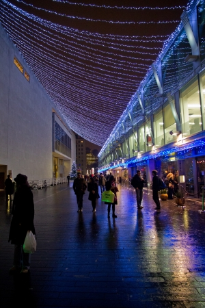 Christmas lights and atmosphere along the Royal Festival Hall area on the South Bank in London