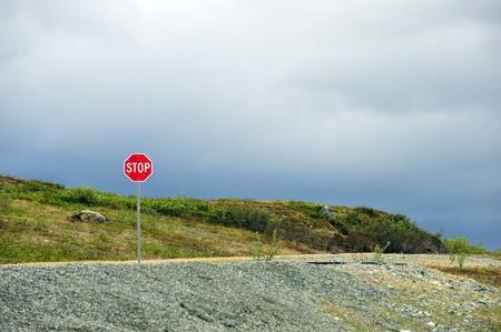denali: Stop sign, Denali Highway, Alaska