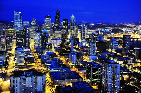 night view of Seattle downtain, Washington Stock Photo - 10060949