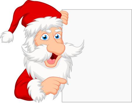 greybeard: Babbo Natale con il segno in bianco Vettoriali