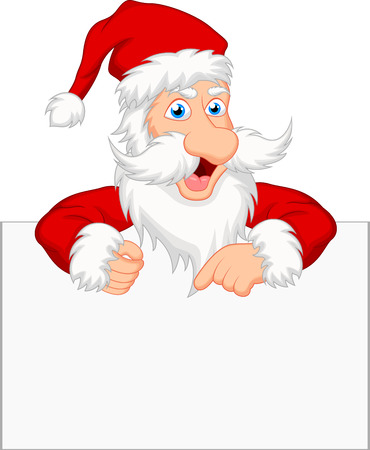 Santa clause with blank sign Stock Illustratie