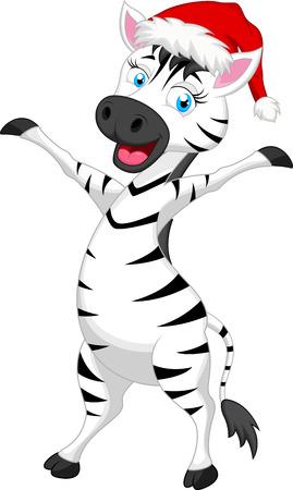 Zebra cartoon with christmas hat Stock Illustratie