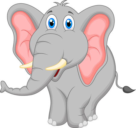 elephant trunk: Cute elephant cartoon Illustration
