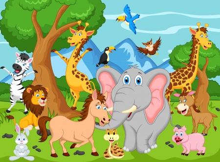 animales de la selva: divertidos dibujos animados de animales Vectores