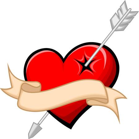 pierced: heart pierced by arrow