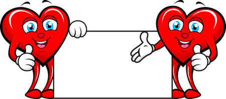 two hearts with blank sign  Vector