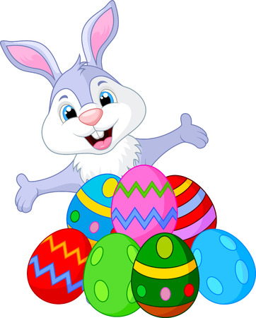 easter bunny: Easter funny rabbit with eggs
