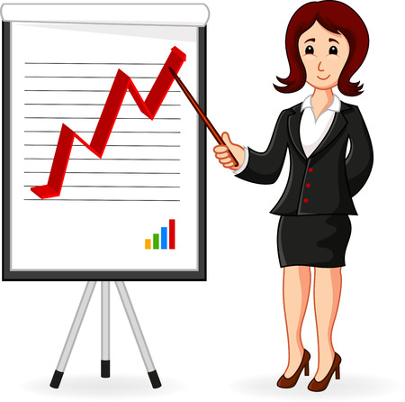 Business Woman holding a training  Vector