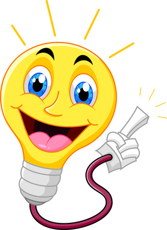 yellow bulb: Cartoon light bulb pointing his finger  Illustration
