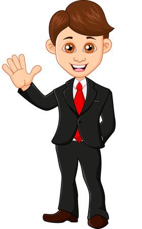 hand stand: Businessman waving hand