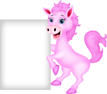 Cute horse with blank sign  Vector