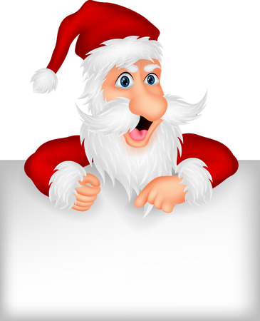 Santa clause with blank sign  Vector