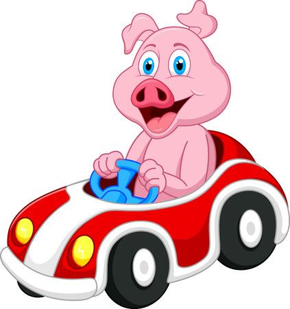 豚漫画駆動車  イラスト・ベクター素材