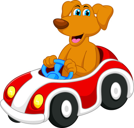 Cute dog cartoon driving car  Stock Illustratie