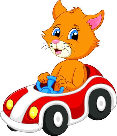 Cute cat cartoon driving car  Vector