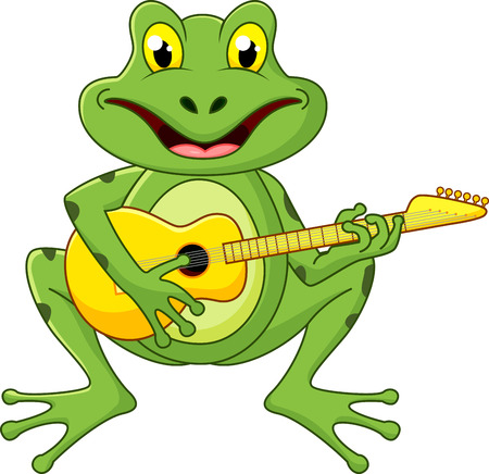 Frog singing with guitar  Vector