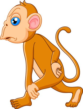Monkey cartoon thinking  Vector
