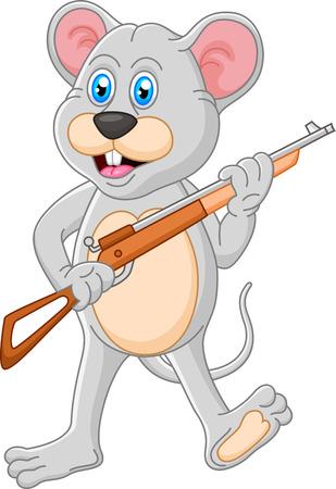 Mouse cartoon holding rifle