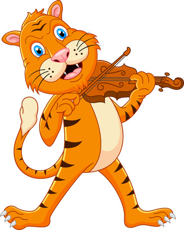 Tiger playing his violin Vector