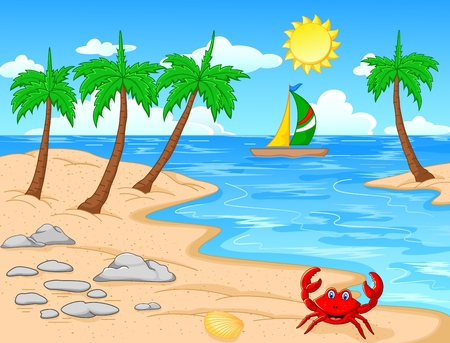 coconut crab: Beach with palm trees tropical beach Illustration