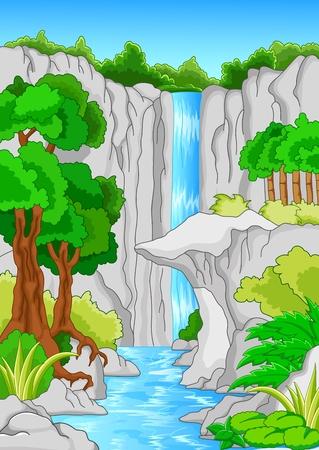 riverside landscape: Beautiful waterfall  Illustration