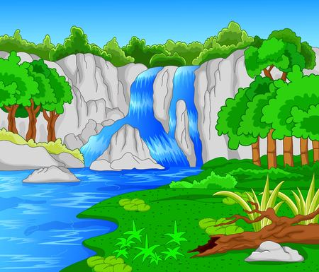 river rock: Beautiful waterfall  Illustration