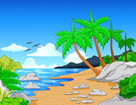 nature scenery: Beach with palm treestropical beach Illustration