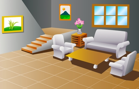 tarima madera: Interior de una sala de estar casa Vectores