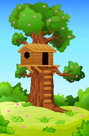 illustration of tree house