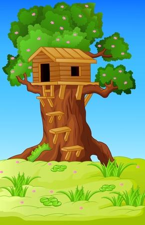 Illustratie van een boomhut Stockfoto - 31536690